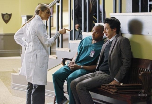 Still of Zach Braff, Donald Faison and Eliza Coupe in
