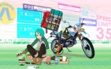 Vocaloid : Hatsune Miku 102623 beverage blush boots box eating food gloves green eyes hair guitar headphones jacket motorcycle short shorts smile wallpaper картинка аниме anime picture