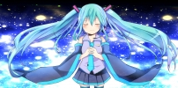 Vocaloid : Hatsune Miku 102627 blue hair blush boots headphones long night skirt smile stars tie twin tails картинка аниме anime picture