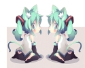Vocaloid : Hatsune Miku 102628 blush boots green eyes hair long neko mimi twin tails картинка аниме anime picture