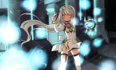 Elsword : EVE 102629 boots dress flower hairpins long hair ribbon smile tattoo white yellow eyes картинка аниме anime picture