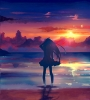 Anime CG Anime Pictures      103187 long hair skirt sky sunset water wet картинка аниме anime picture