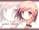 Your Diary : Yua 103189 blush braids flower pink hair red eyes ribbon short smile картинка аниме anime picture