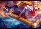 Touhou : Flandre Scarlet 103190 artist blonde hair dress flower hat red eyes ribbon short smile water wet картинка аниме anime picture