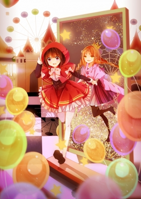 Anime CG Anime Pictures        104360  583596   ( Anime CG Anime Pictures        ) 104360  художник : Karei  pixiv3289464  balloon braids brown hair cloak dress happy holding hands orange pantyhose purple eyes ribbon royalty short stars twin tails yellow картинка аниме anime picture