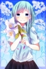 Anime CG Anime Pictures        104358 blue eyes hair flower long skirt sky smile картинка аниме anime picture