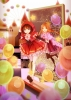 Anime CG Anime Pictures        104360 balloon braids brown hair cloak dress happy holding hands orange pantyhose purple eyes ribbon royalty short stars twin tails yellow картинка аниме anime picture