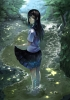 Anime CG Anime Pictures        104364 barefoot black hair blue eyes hairpins long seifuku smile tree water wet картинка аниме anime picture