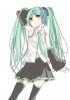 Vocaloid : Hatsune Miku 104361 blush green eyes hair long skirt thigh highs tie twin tails картинка аниме anime picture