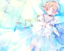 Anime CG Anime Pictures        104365 blonde hair choker dress flower long pointy ears sleep twin tails water wings картинка аниме anime picture