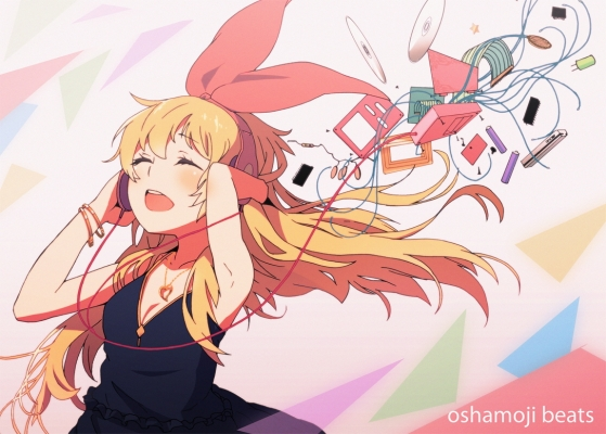 Aikatsu! : Hoshimiya Ichigo 107334  585544  aikatsu  hoshimiya ichigo   ( Anime CG Anime Pictures        ) 107334  художник : Sonokazu blonde hair blush headphones jewelry long music player ribbon картинка аниме anime picture