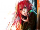 Fisheye Placebo : Robin 107279 green eyes headphones long hair pink red sketch картинка аниме anime picture