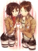 Shingeki no Kyojin : Eren Yeager Mikasa Ackerman 107323 ahoge blush brown eyes hair garter green happy heart scarf short smile uniform картинка аниме anime picture