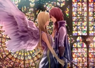 Anime CG Anime Pictures        107331 blonde hair couple dress gloves holding hands long red smile wings картинка аниме anime picture