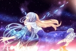 Anime CG Anime Pictures        107330 blonde hair blue eyes dress high heels hug surprised картинка аниме anime picture