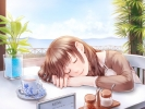 Anime CG Anime Pictures        107336 beverage brown hair long sky sleep smile tree картинка аниме anime picture