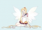 Sailor Moon : Eternal Sailor Moon Tsukino Usagi 107339 blonde hair blush boots choker gloves hairpins jewelry long mahou shoujo odango ribbon skirt staff twin tails wings картинка аниме anime picture