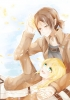 Shingeki no Kyojin : Christa Renz Ymir 107340 blonde hair blue eyes brown couple flower freckles happy holding hands jacket ponytail short sky картинка аниме anime picture