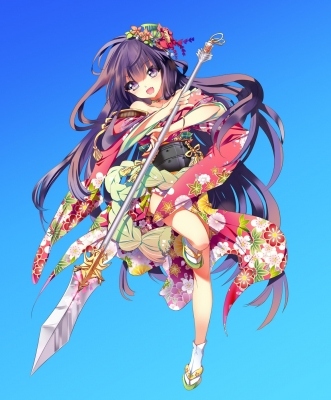Anime CG Anime Pictures        106163  586656   ( Anime CG Anime Pictures        ) 106163  художник : Cu rim blush choker fang flower happy headdress long hair purple eyes sandals short kimono weapon картинка аниме anime picture