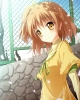 Anime CG Anime Pictures        106159 :3 blush brown eyes hair ribbon short side tail sky smile картинка аниме anime picture