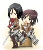 Shingeki no Kyojin : Mikasa Ackerman Sasha Braus 108129 black eyes hair boots brown chibi eating food jacket pants ponytail scarf short sword картинка аниме anime picture