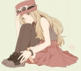 Pokemon : Serena  Pokemon  108134 blonde hair grey eyes hat long skirt sunglasses thigh highs картинка аниме anime picture