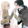 Shingeki no Kyojin : Christa Renz Levi 108131 black hair blonde blue eyes brown cloak jacket short картинка аниме anime picture