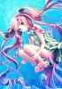 Anime CG Anime Pictures        108343 barefoot blue eyes blush braids dress heart long hair pink smile twin tails underwater картинка аниме anime picture