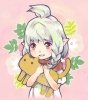 Final Fantasy XIV : Lalafell 114233 blush braids flower grey hair happy neko pointy ears ponytail red eyes scarf short картинка аниме anime picture