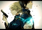 Fullmetal Alchemist : Riza Hawkeye Roy Mustang 174760 black hair blonde blue eyes gloves gun nail polish odango short uniform yellow картинка аниме anime picture