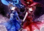 Wadanohara and The Great Blue Sea : Wadanohara 174767 blue eyes braids brown hair dress flower gloves hat holding hands long moon pointy ears red ribbon smile stars twin tails witch картинка аниме anime picture