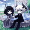 Gray Garden : Etihw Kcalb 174769 ahoge black eyes hair blush chibi dress flower horns long pointy ears short sky smile suit tie tree water white картинка аниме anime picture