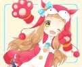 The Idolmaster Cinderella Girls : Ichihara Nina 181411 animal suit blush brown hair fang gloves happy long ribbon wink yellow eyes картинка аниме anime picture
