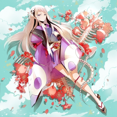 Anime CG Anime Pictures      181734  668338   ( Anime CG Anime Pictures      ) 181734  художник : kYer book flower long hair pointy ears purple eyes sandals short kimono white картинка аниме anime picture