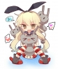 Kantai Collection : Rensouhou chan Shimakaze 182304 :3 >,_<, anthropomorphism blonde hair blush boots brown eyes fang gloves band happy heart long skirt thigh highs water float weapon картинка аниме anime picture