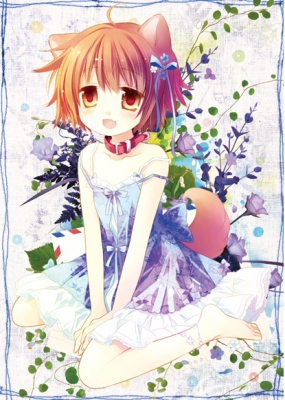 Anime CG Anime Pictures      182519  669141   ( Anime CG Anime Pictures      ) 182519  художник : Izumi Sakurazawa Ryo Hiiragi ahoge barefoot blush dress flower happy neko mimi orange eyes hair ribbon short картинка аниме anime picture