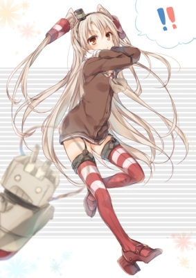 Kantai Collection : Amatsukaze Rensouhou kun 182526  669149  kantai collection  amatsukaze rensouhou kun   ( Anime CG Anime Pictures      ) 182526  художник : Komeshiro Kasu anthropomorphism brown eyes gloves hat long hair ribbon thigh highs twin tails uniform weapon white картинка аниме anime picture