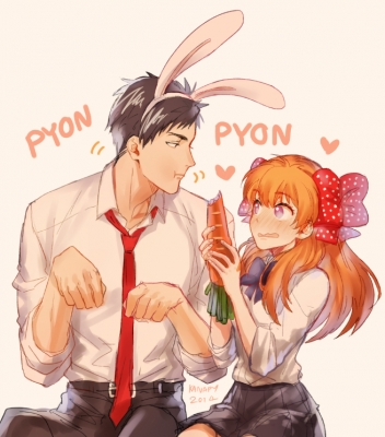 Gekkan Shoujo Nozaki kun : Nozaki Umetarou Sakura Chiyo 182542  669188  gekkan shoujo nozaki kun  nozaki umetarou sakura chiyo   ( Anime CG Anime Pictures      ) 182542  художник : KANapy black eyes hair blush eating heart long orange purple ribbon seifuku short tie usa mimi картинка аниме anime picture