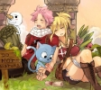 Fairy Tail Rave Master : Happy Lucy Heartfilia Natsu Dragneel Plue 182562 blonde hair blush boots crossover holding hands jewelry nail polish neko pink scarf short shorts side tail sky sleep smile sunset картинка аниме anime picture