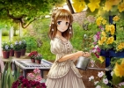 Anime CG Anime Pictures      182553 blue eyes blush brown hair butterfly dress flower short smile tree water картинка аниме anime picture