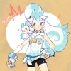 Pokemon : Pachirisu 182545 animal anthropomorphism blue hair brown eyes gloves long ponytail scarf shorts white картинка аниме anime picture