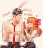Gekkan Shoujo Nozaki kun : Nozaki Umetarou Sakura Chiyo 182542 black eyes hair blush eating heart long orange purple ribbon seifuku short tie usa mimi картинка аниме anime picture