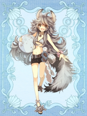 Psychic Hearts :  182751  669373  psychic hearts   ( Anime CG Anime Pictures      ) 182751  ahoge balloon bikini blush brown eyes flower grey hair happy inu mimi jewelry long ookami ribbon sandals shorts tail картинка аниме anime picture