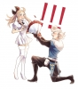 Bravely Default: Flying Fairy : Edea Lee Ringabel 182760 ahoge blonde hair blue eyes blush boots dress flower long pants ponytail ribbon surprised картинка аниме anime picture