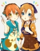 Love Live! School Idol Project : Hoshizora Rin Kousaka Honoka 182884 apron blue eyes blush green headdress holding hands hoodie nail polish orange hair short side tail stars картинка аниме anime picture