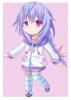 Hyperdimension Neptunia : Pururut 183101 ahoge blue hair blush braids chibi choker jacket long purple eyes ribbon smile thigh highs картинка аниме anime picture