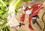 Sword Art Online : Silica 183107 blush boots brown hair gloves long red eyes ribbon sword twin tails warrior картинка аниме anime picture
