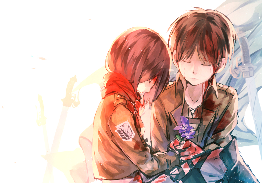 Shingeki, Kyojin, Eren, Yeager, Mikasa, Ackerman, black, hair, brown, flower, jacket, scarf, short, sword, uniform, картинка, аниме, anime, picture, картинки, |, разные, красивые, pictures