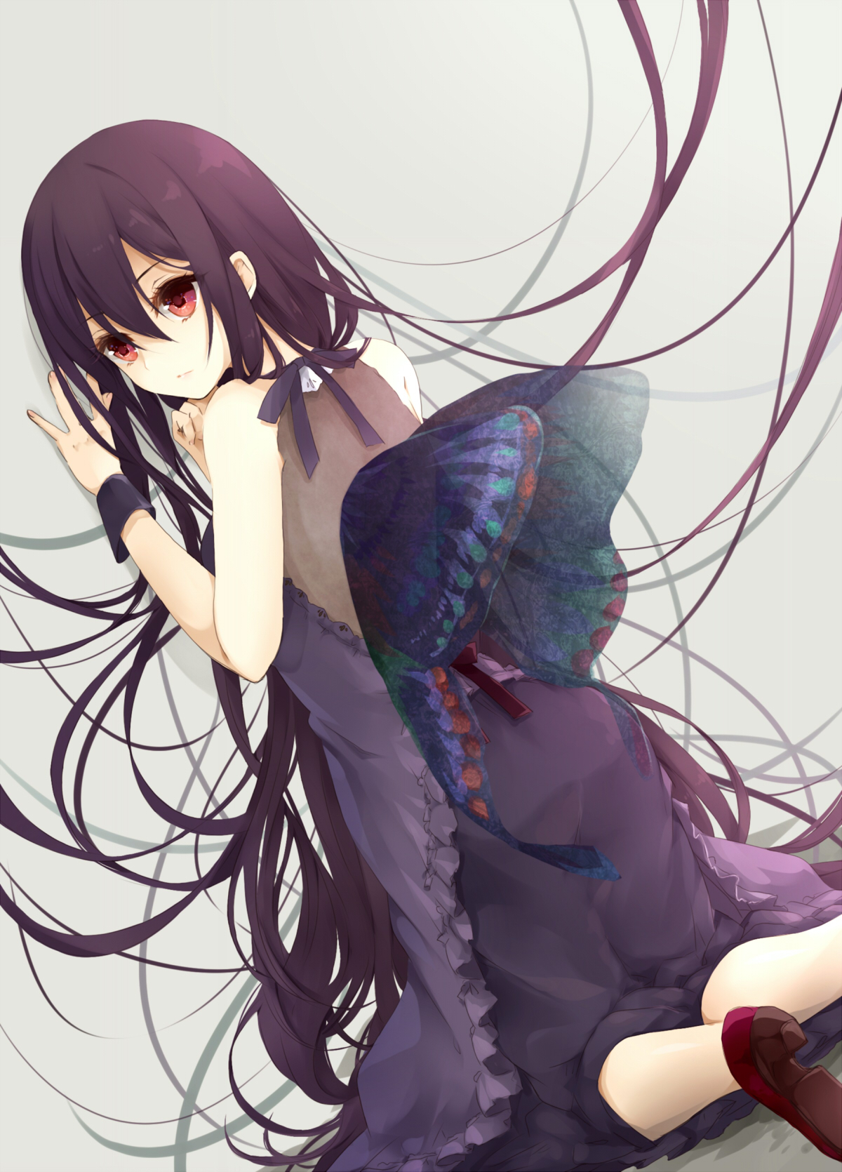 Anime, CG, Pictures, dress, high, heels, long, hair, purple, eyes, wings, картинка, аниме, picture, картинки,  , разные, красивые