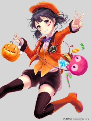Anime CG Anime Pictures      183195  669822   ( Anime CG Anime Pictures      ) 183195  художник : Occhan black hair blush boots halloween hat red eyes short shorts smile sweets thigh highs twin tails картинка аниме anime picture
